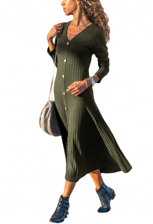Button Front Long Sleeve Ribbed Midi Dress