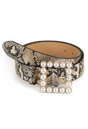 Snakeskin PU Leather Pearl Square Buckle Belt