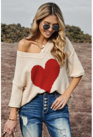 V-neck Dropped Sleeve Heart Print Slouchy Top