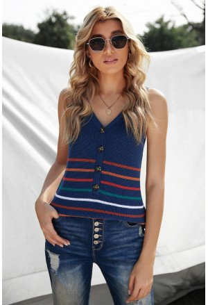 V Neck Striped Pattern Knit Tank Top with Buttons