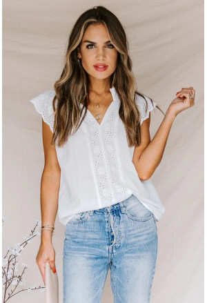 Embroidered Eyelet Cap Sleeves Top