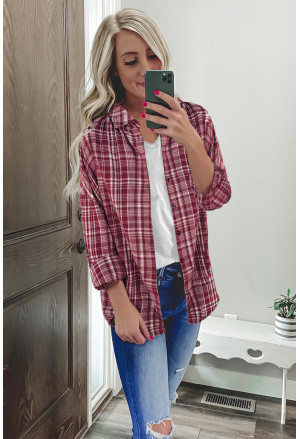 Relaxed Fit Plaid Button Shirt