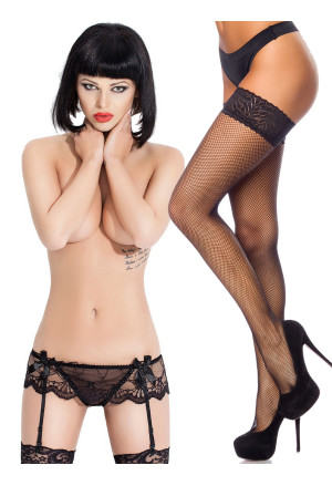 Women sexi lingerie set - black fishnet lace tight high stocking with lace garter
