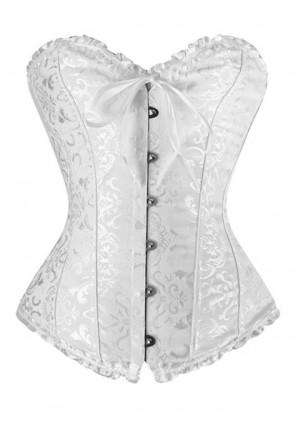 Brocade corset Vamp - white