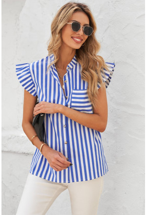 Sky Blue Striped Buttoned Ruffled Sleeve Blouse