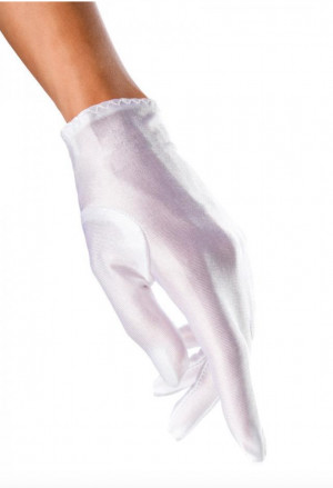 Short satin white  gloves