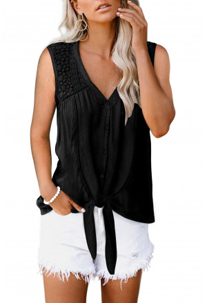Lace Tie Front Button Tank Top