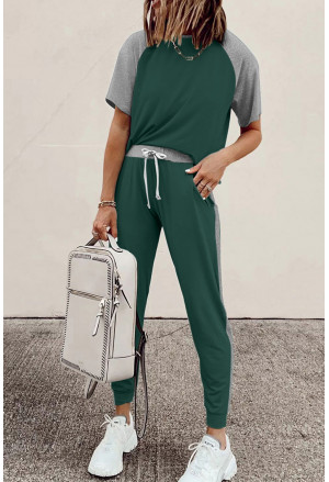 Colorblock Short Sleeves and Joggers Sports Set