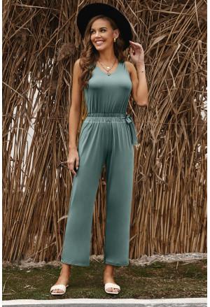 Green V Neck Elastic Waist Sleeveless Jumpsuit