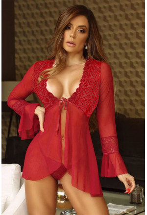 Lace V Neck Long Sleeve Sexy Sheer Open Front Negligee