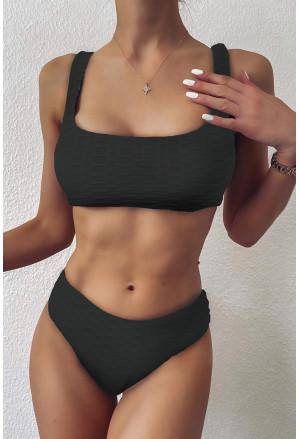 Scalloped Edges Ribbed Bikini