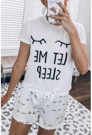 Eyelash Slogan Tee and Drawstring Shorts Lounge Set