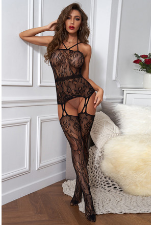Black Floral Print Midnight Desire Sheer Body Stocking