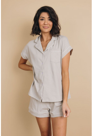 Buttoned Short Sleeve Shirt and Shorts Pajamas Set