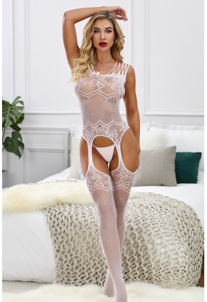 Floral Lace Garter Belt Design Bodystocking