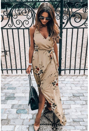 Floral Wrap Maxi Dress With Slit