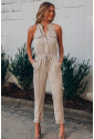 Button Front Patch Pockets Sleeveless Jumpsuit
