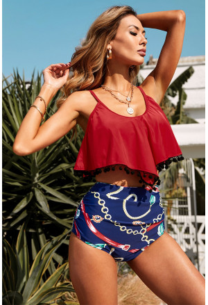 Red Print High Waist Swimsuit with pompoms