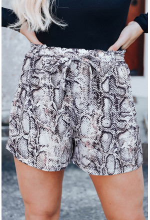 Sassy Snakeskin Paper Bag Shorts