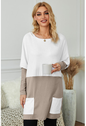 Colorblock Casual Long Sleeve Tunic with Pockets
