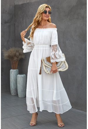 Off Shoulder Embroidered Flared Sleeve Lace Maxi Dress