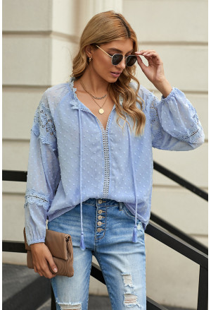 V Neck Lantern Sleeve Lace Hollow Out Long Sleeve Top