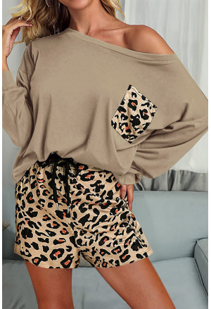 Solid Long Sleeve and Leopard Shorts Loungewear