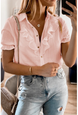 Buttoned Short Sleeves Shirt with Ruffles