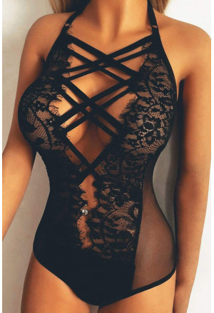 Strappy Lace Goth Teddy