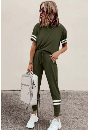 Striped Accent Short Sleeve and Joggers Set