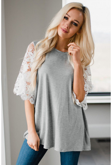 Lace Sleeves Tunic Top