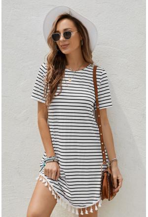 Neck Striped T-shirt Mini Dress with Tassel