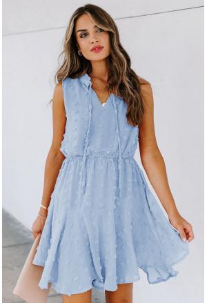 Split Neck Pom Pom Textured Flowy Mini Dress