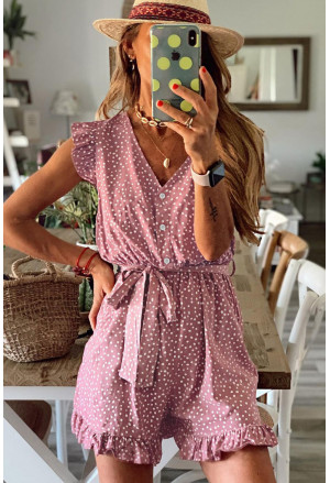 Dotted Print V Neck Romper with Waist Tie