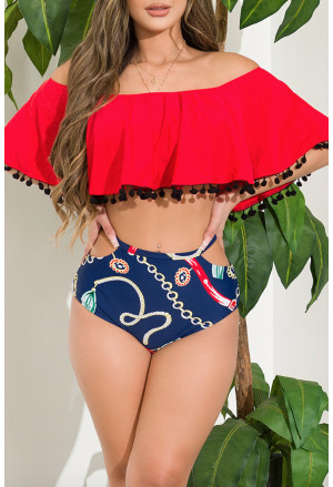 Beatiful girl's padded high waisted swimsuit with pompoms