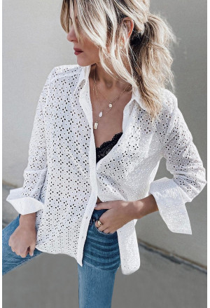Long Sleeve Eyelet Floral Pattern Hollow-out Shirt