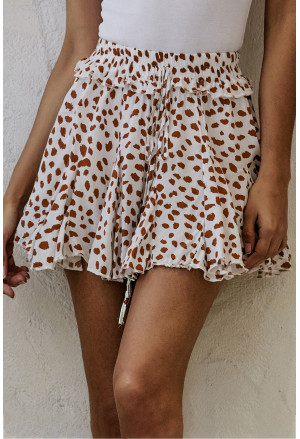 Printed Ruffled Hem A-Line Mini Skirt