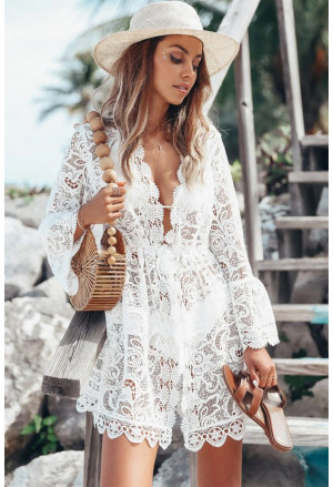 Scalloped Sleeved Lace Crochet Cover up