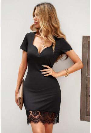 Short Sleeve Lace Trim Bodycon Mini Dress