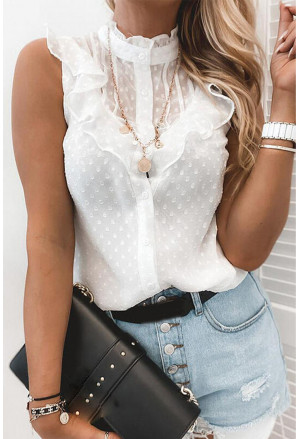 Flounced Collar Buttoned Dotted Print Tank Top