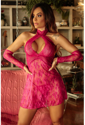 Neck Backless Lace Babydoll with Thong and Gloves
