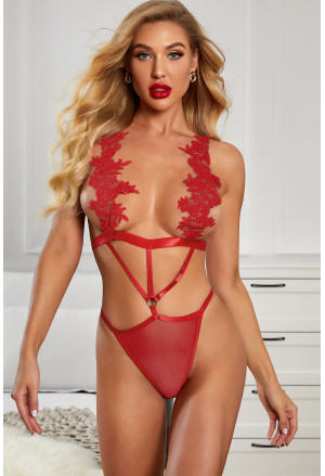 Embroidered Strappy Hollow-out Teddy