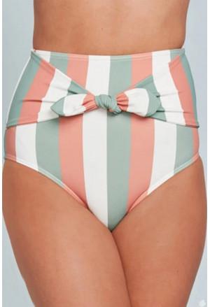 Print Front Tie High Waist Bikini Bottoms
