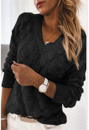Feather Hollowed-out V-neck Long Sleeve Knitted Sweater