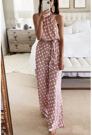 Pink Polka Dot Chiffon Overall Jumpsuit