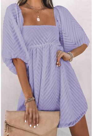 Square Neck Puff Sleeve Babydoll Mini Dress