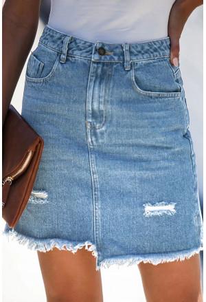 Blue Pocketed Raw Hemline Short Denim Skirt