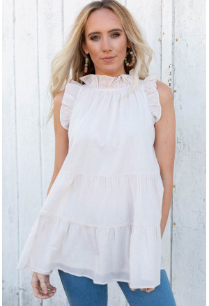 Frilled Collar Sleeveless Knotted Tiered Flowy Tank