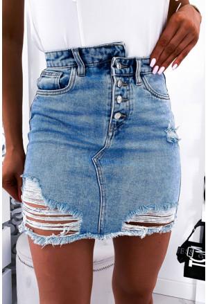 Abrasions Short Jeans Skirt