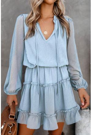 Swiss Dot Bubble Sleeve Ruffle Mini Dress